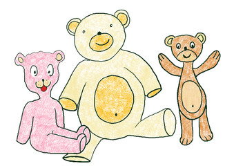 Illustration with Taddy Bears, different colors