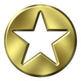 3D Golden Star Badge poster