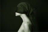 Naked (nude) woman with  black bandage.  Artistic photo. poster