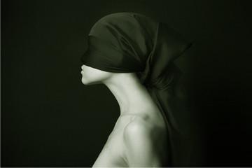 Naked (nude) woman with  black bandage.  Artistic photo.