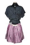 Black blouse and violet skirt on a white background poster