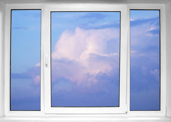 Sky seen through an white window