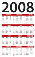 Calendar for 2008. Vertical design.