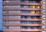 Generic Hotel in Frankfurt, Germany at dusk. poster