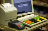 Cash register in shop and credit card register poster