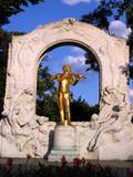 johann strauss monument in vienna, austria poster