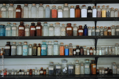 Thomas Edison's chemistry lab glass containers.