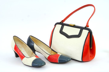 Red white and Blue purse and shoes