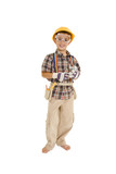 Young caucasian boy dressed in a carpenter outfit  poster