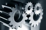 gear mechanism in titanium blue tone poster