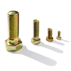 Four bolts of the different size on a white background