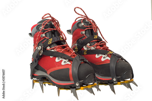 Trekking boots with ther crampons