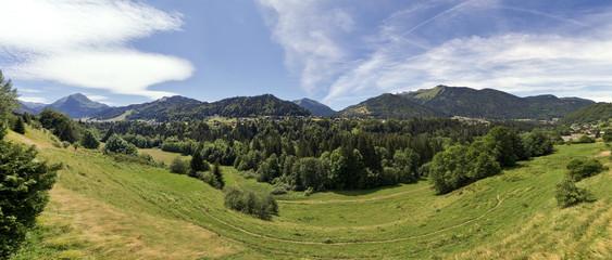 panoramique de montagne alpes vert en été nature ciel bleu