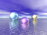 Shiny metallic Spheres float on a calm sea poster