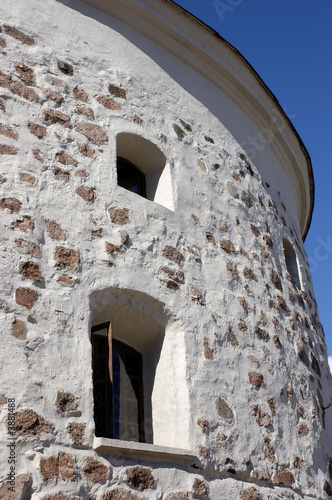 Part of a wall of the Round tower in Vyborg, Russia