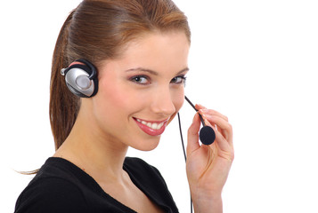 Beautiful Customer Support gril with headset