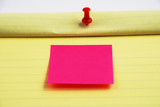 Stock pictures of a notepad with a pin and a post sticky note poster