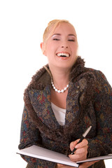 Beautiful blond secretary with a very fake laugh