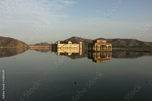 Reflections of palaces in a lake