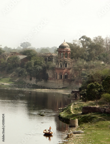 Vintage view from the Taj Mahal over a river