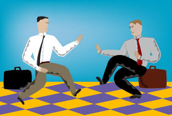 Vector illustration of businessmen doing battle