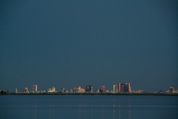 Atlantic City Skyline at dusk from the saltwater marshes
