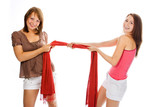 beauty couple woman pull red scarf over white poster