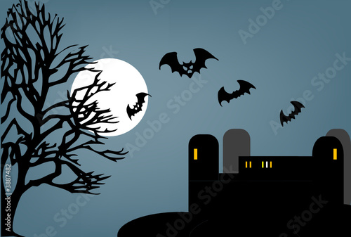 Bats fly from castle - halloween vector illustration.