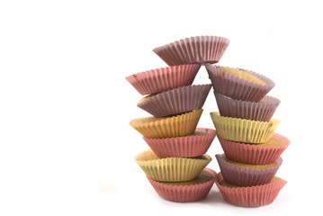 handmade small cakes in several colors paper