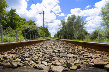 Close-up view of a railway