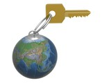 Key from the world. 3D object. poster