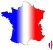 Carte de France avec couleurs du drapeau en dégradé