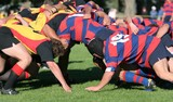 Rugby Scrum, club rugby action in New Zealand