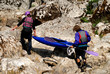 Preparation for kayaking on a river Soca, Slovenia,