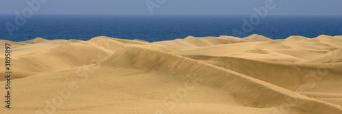 Sand dune panorame with the sea in the background.