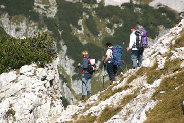 Group of people descending the mountain