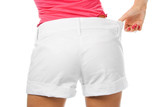 thin waist woman in big shorts over white poster