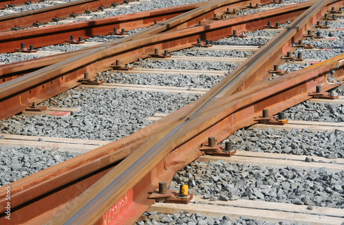 Railroad tracks with gravel