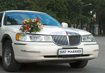 """wedding white car with """"just married"""""""