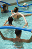 People doing water aerobic in pool poster