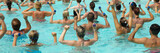 People are doing water aerobic in pool poster