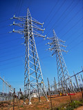 Power line poles from an electrical substation in spain poster