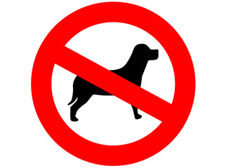 "A red sign meaning ""dogs are not allowed here"" on the white"