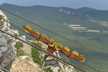 Wheels of a funicular.