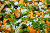Mussels shells with garlic and spices ready for eating poster