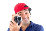 Man holding a camcorder on white . (Better focus in camcorder) poster
