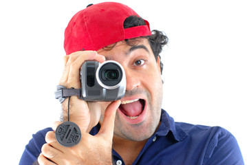 Man holding a camcorder