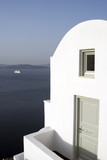 santorini villa hotel over sea with view of cruise ship   poster