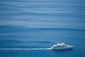 A luxurous ship (yacht) sailing in the sea