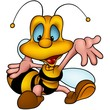 Wasp 19 smiling - detailed cartoon illustration.